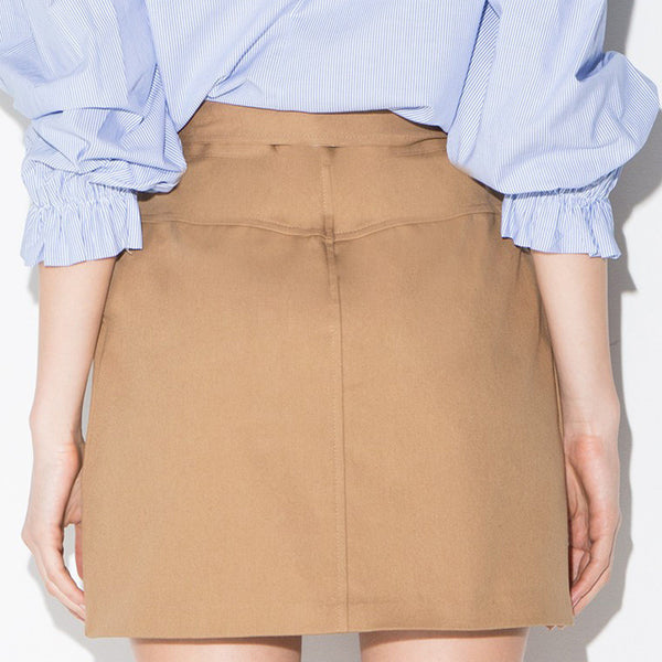 OL Tie Front Skirt High Waist Pockets,  - By Classier