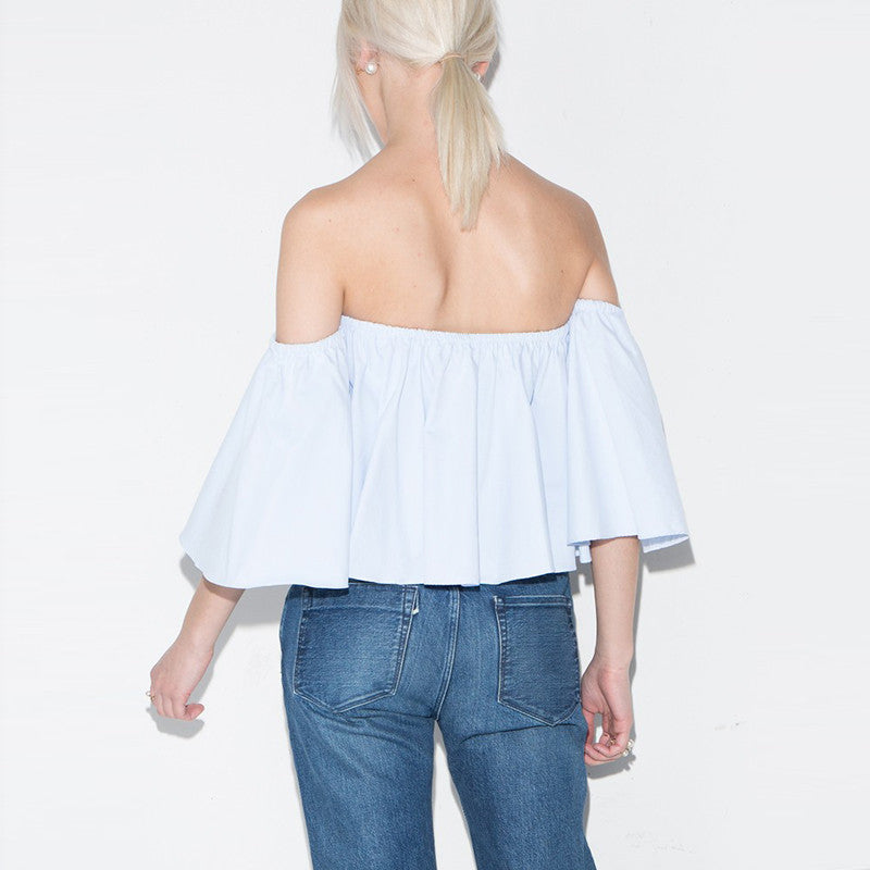 Cotton Off Shoulder Casual Solid Slim Streetwear,  - By Classier