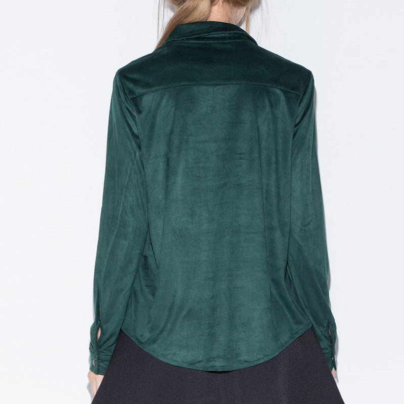 Long sleeve suede blouses,  - By Classier