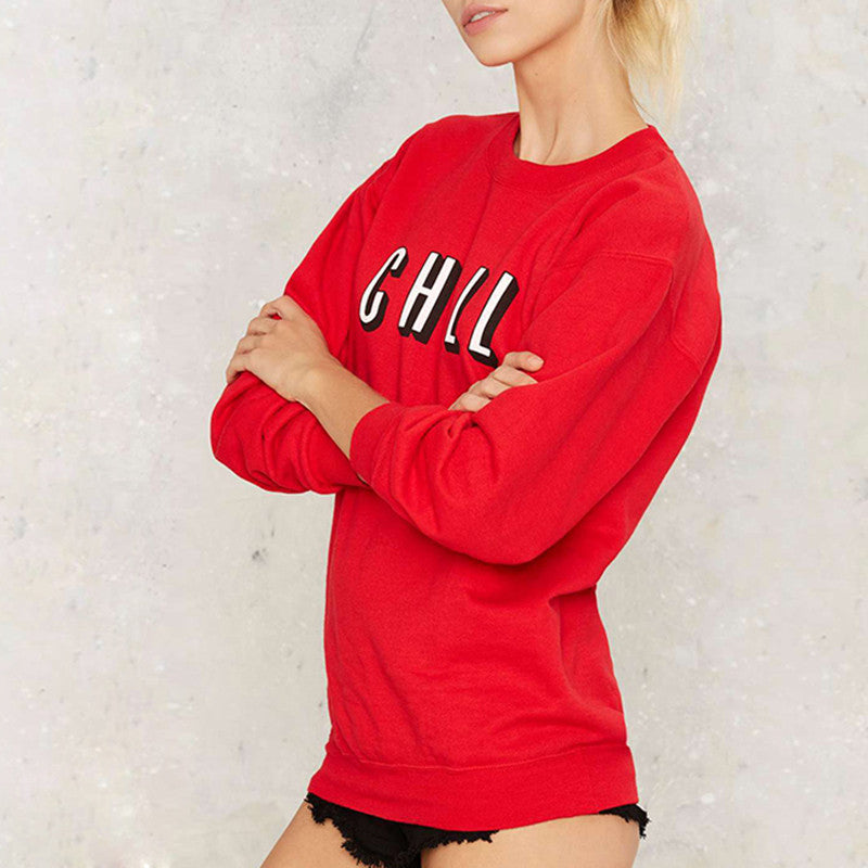 Solid Red Brief Letters Print Loose Sweatshirt,  - By Classier