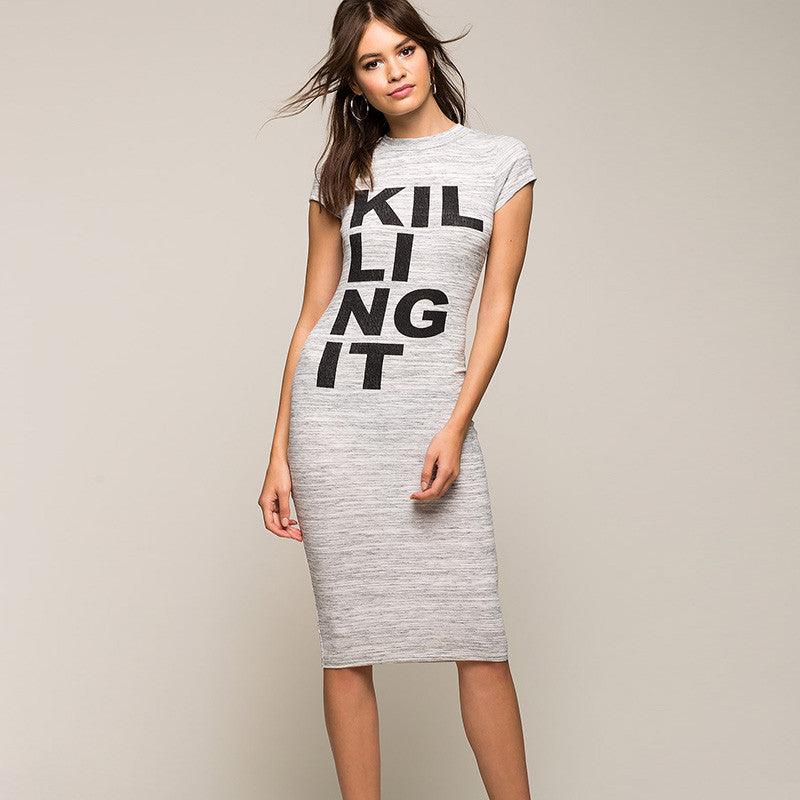 Gray Brief Letter Printed Bodycon Dress, Dresses - By Classier