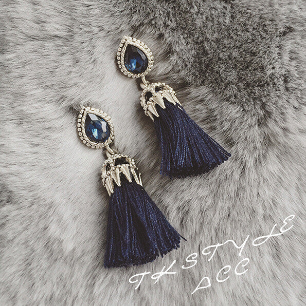 Crystal Mosaic Tassel Earrings