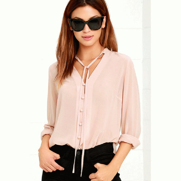 V Neck Long Sleeve Blouse,  - By Classier