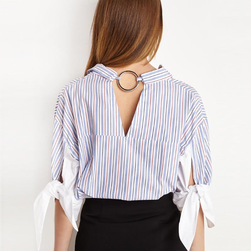 Stripe Hollow Out V-neck Bowknot Blouses,  - By Classier