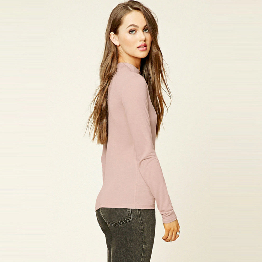 Solid Pink High Collar Hollow Out Shirt,  - By Classier