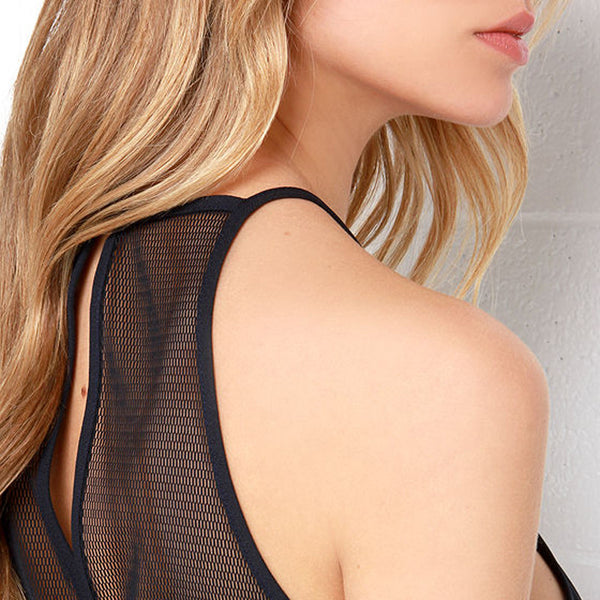 Contrast Sheer Backless Romper,  - By Classier