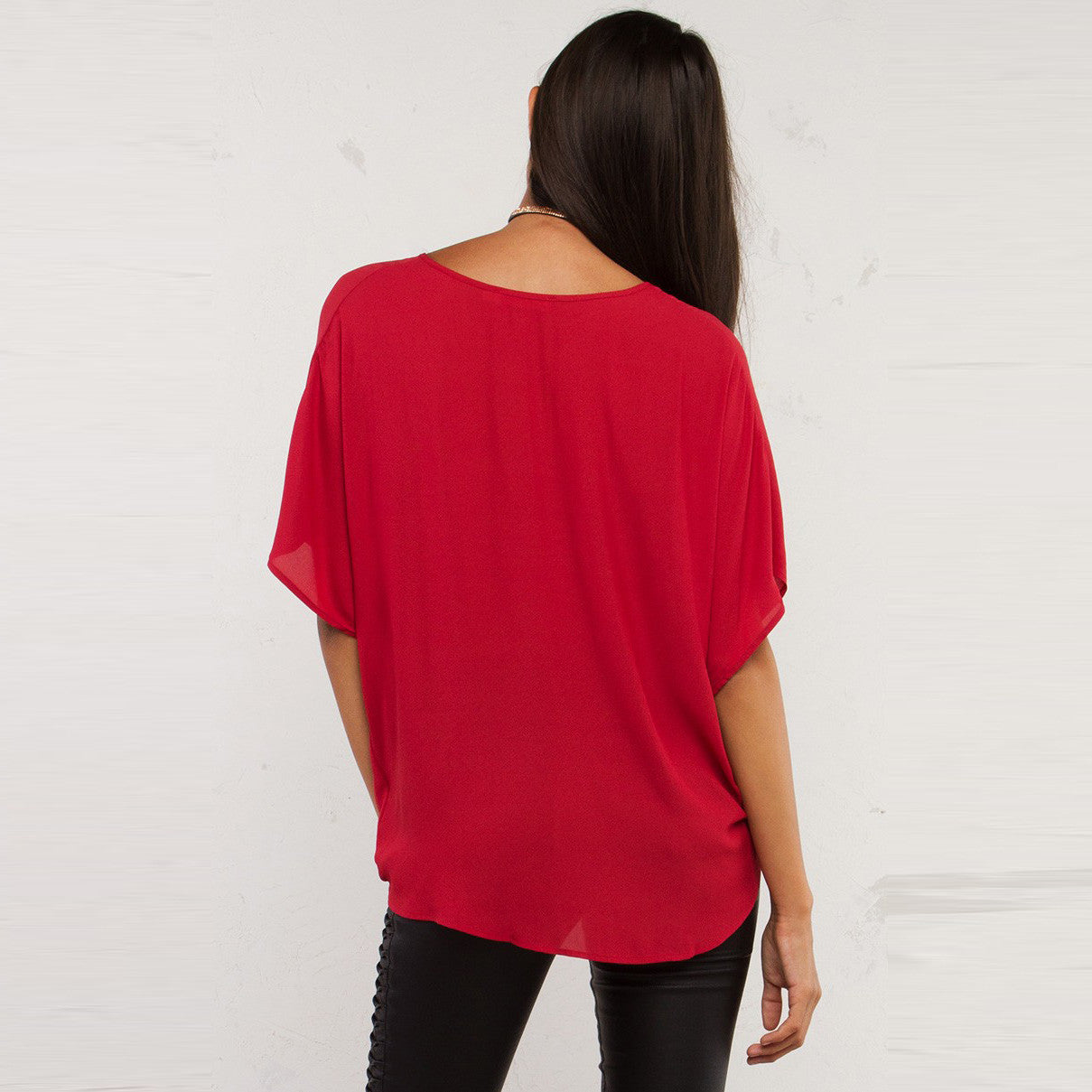 Solid Color Sleeve V-neck Low Loose Blouse,  - By Classier