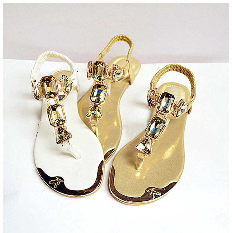 Rhinestone Fashion Golden/White Sandals