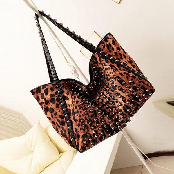 Leopard Rivet Shoulder Bag,  - By Classier