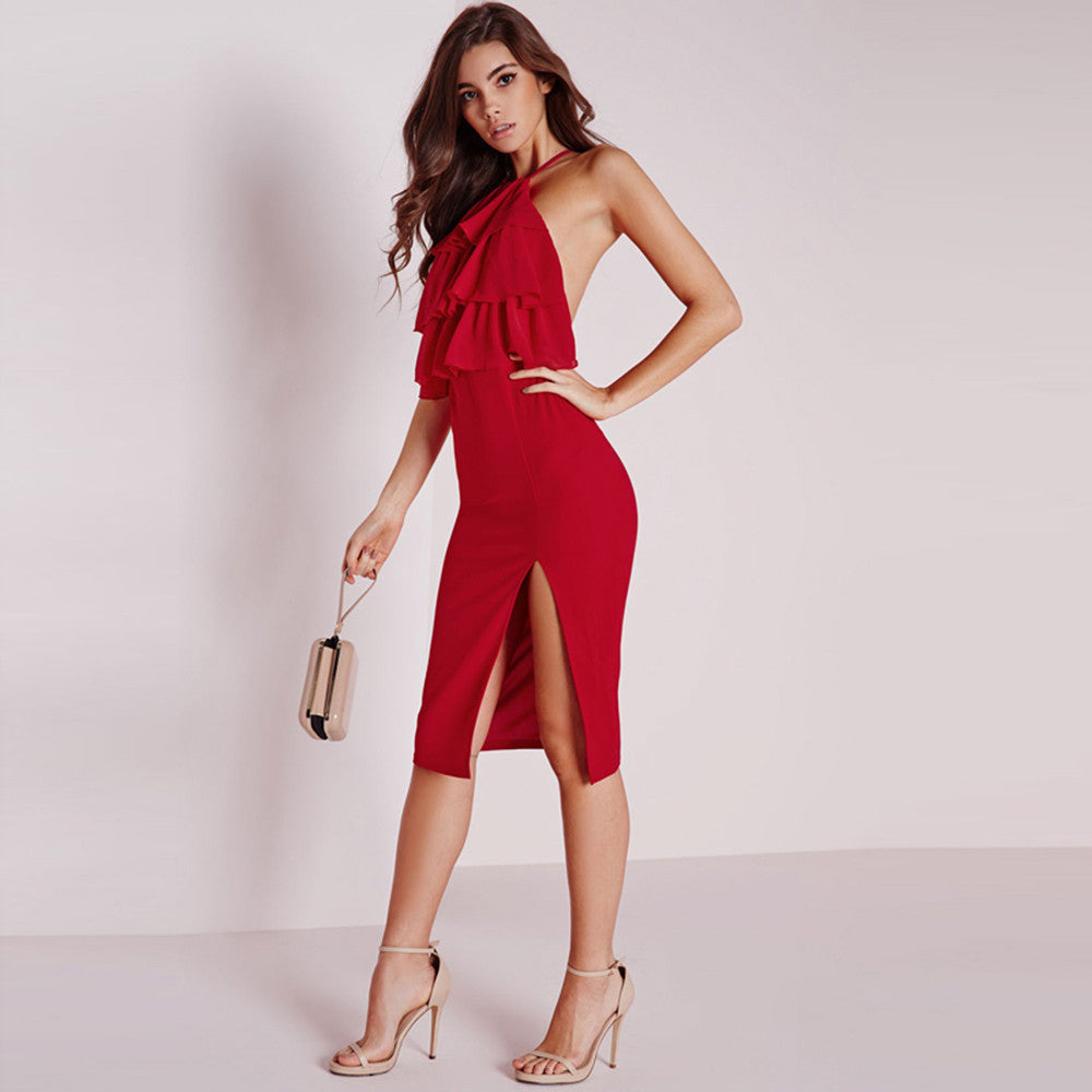 Red Backless Contrast Side Split Strap Dress, Dresses - By Classier