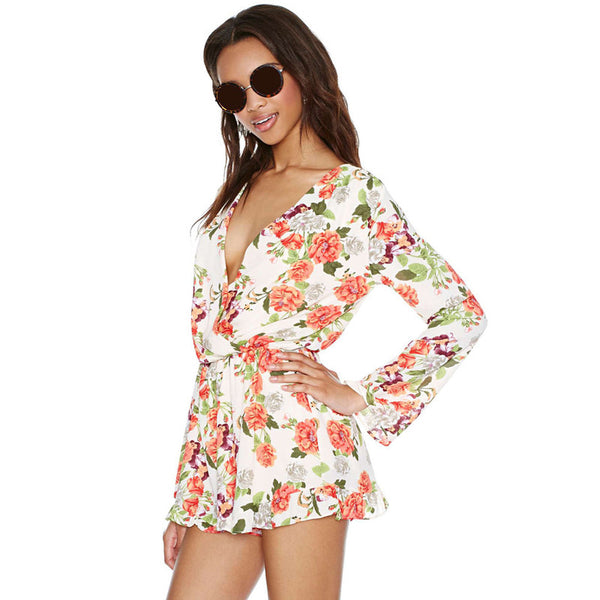 Floral Printed Playsuit Long Sleeve,  - By Classier