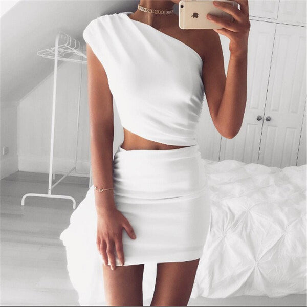 One shoulder Elegant 2 Piece Dress