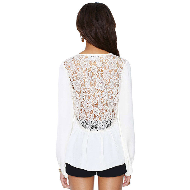 Long Sleeve Chiffon Sweet Lace Shirts,  - By Classier