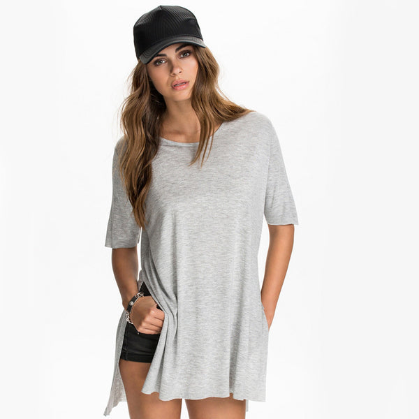 Solid Side Split Tops Casual Loose,  - By Classier