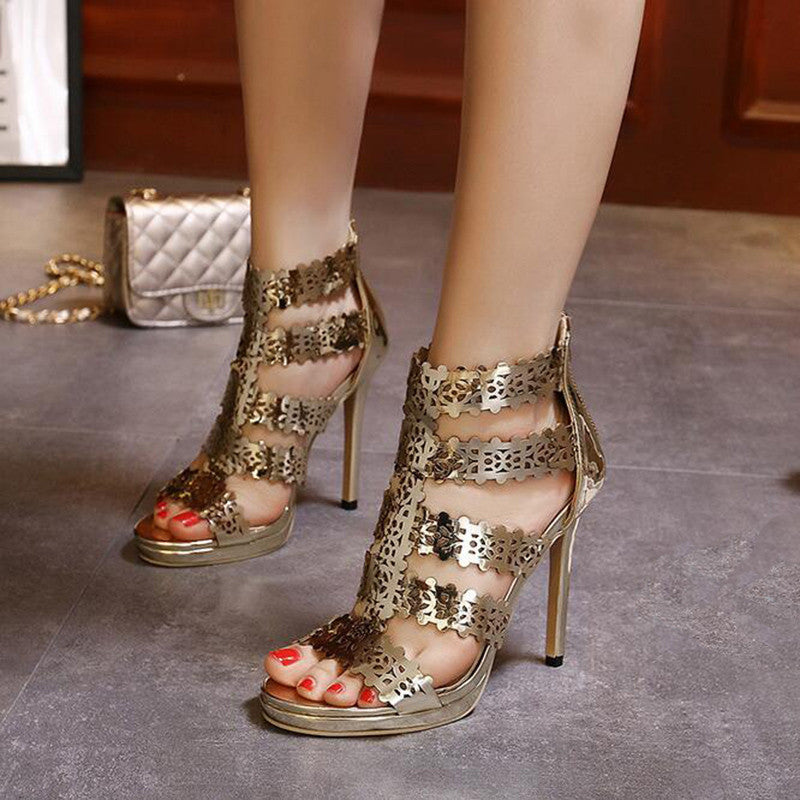 Gold High Heels Sandals,  - By Classier