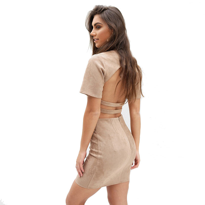 Suede Skirt set Short Sleeve Backless dress,  - By Classier