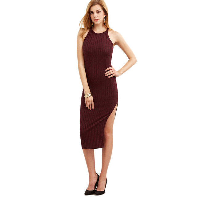 Designer Fall Side Slit Ribbed Cami Dress