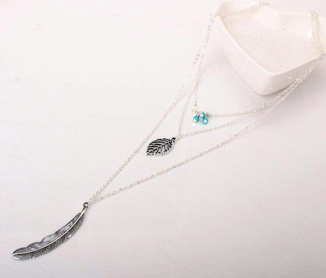 Collier Long Chain Feather Necklace