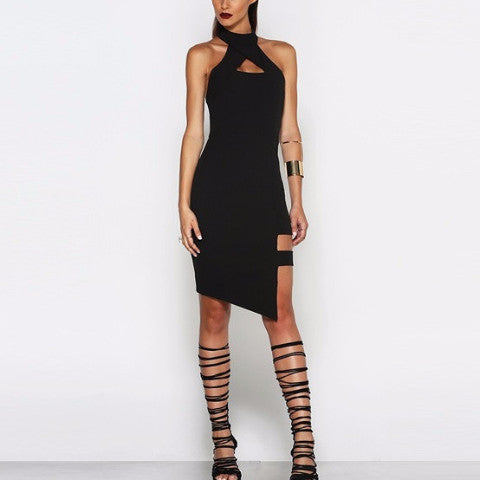 Black Sexy Halter Midi Dress