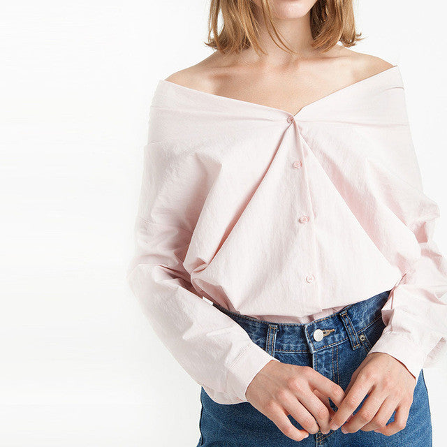 Solid Pink Long Sleeve Slash-neck Shirts,  - By Classier