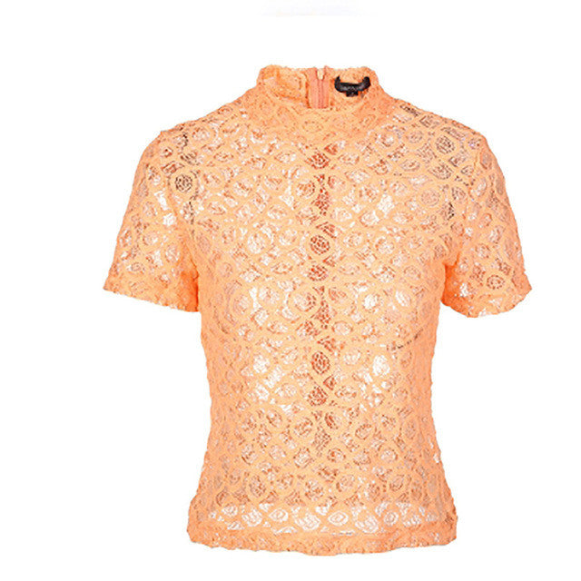 Lace Sheer Short Sleeve Zippers Shirt,  - By Classier