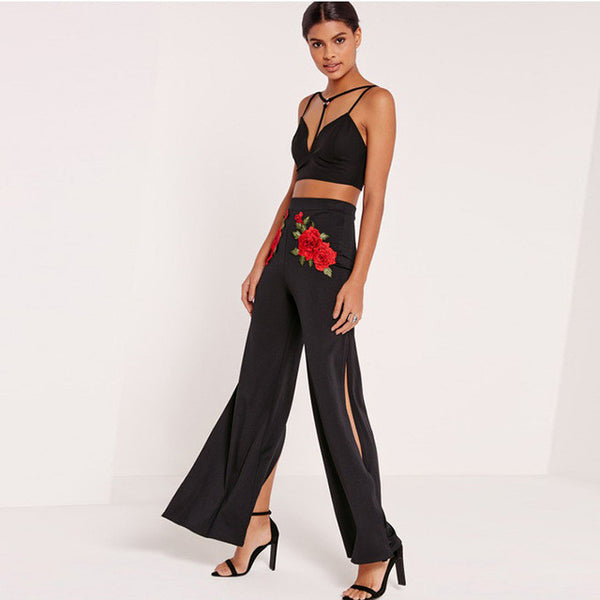 Flora Embroidery Pants High Waist Slim,  - By Classier
