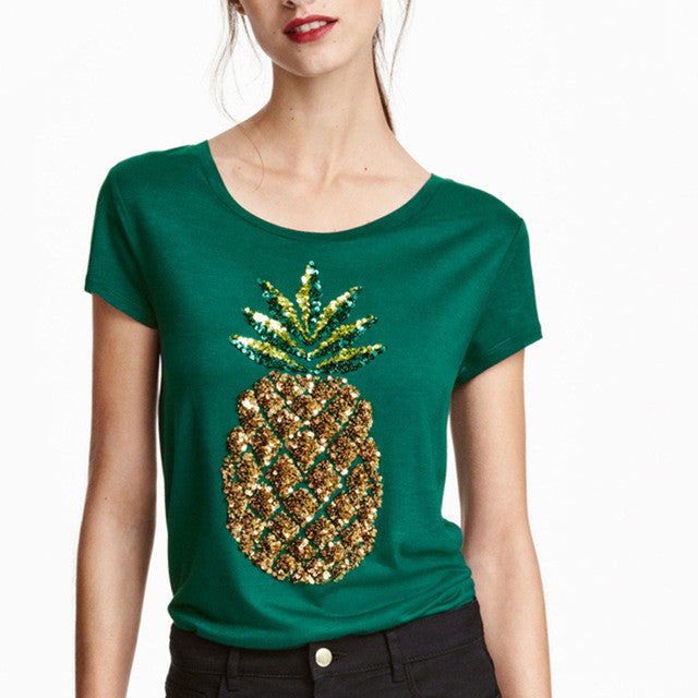 Short Sleeve Fruit Print Slim T-shirt,  - By Classier
