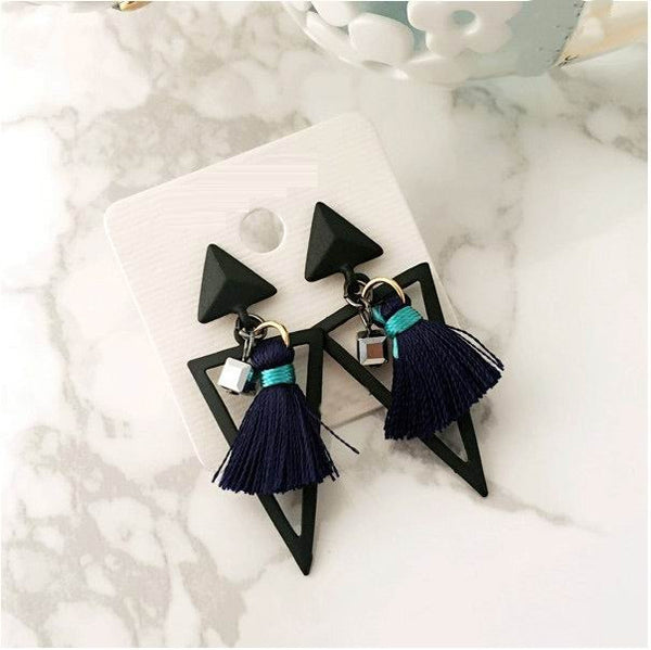 Geometric triangle tassel earrings