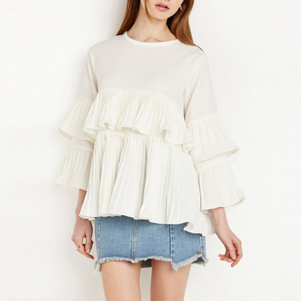 Cute Ruffle Vintage Elegant  Casual Loose Top,  - By Classier