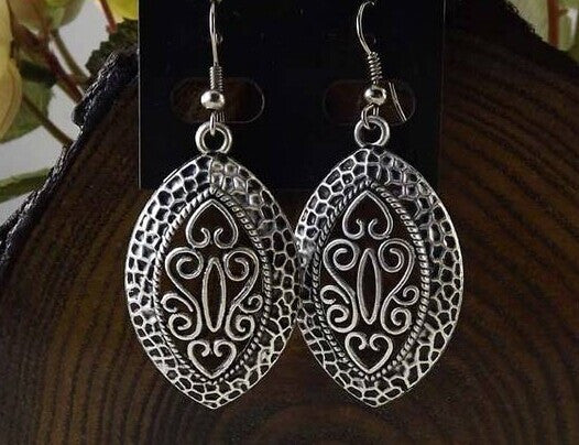 Vintage National elements Tibetan Silver Earrings