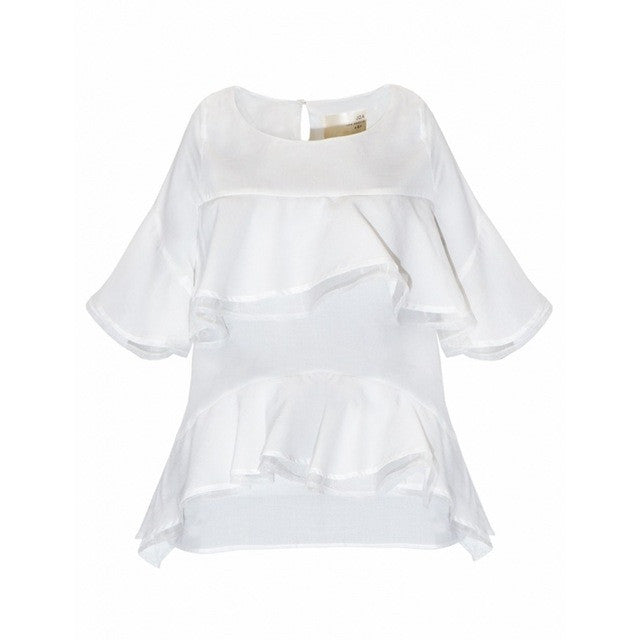 Sweet Solid White Ruffles Patchwrok Blouses,  - By Classier