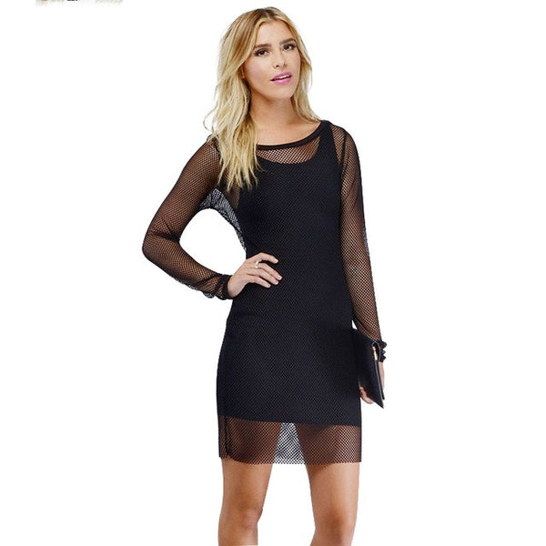 Long Sleeve Crew Neck Sheer Bodycon Dress, Dresses - By Classier