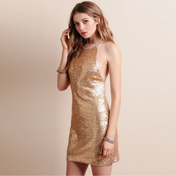 Solid Gold Color Mini Dress, Dresses - By Classier