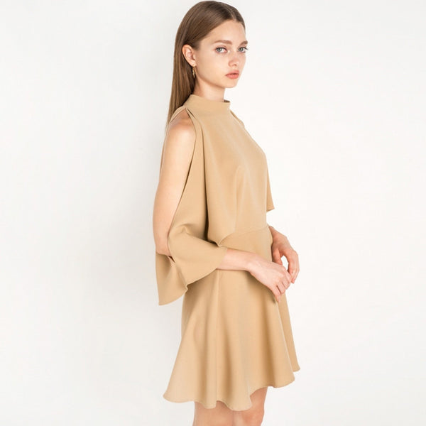 Batwing Sleeve Brief Style Solid O-neck Dress, Dresses - By Classier