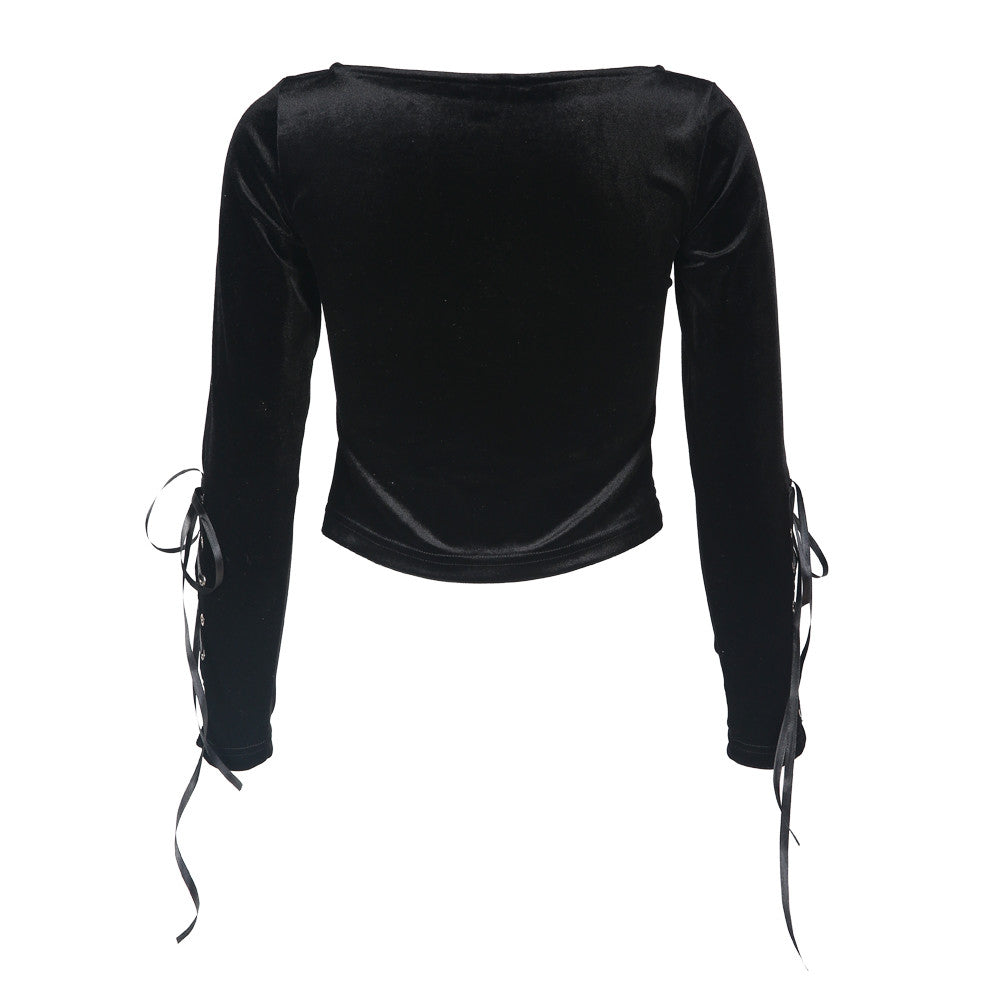 Lace Up Crew Neck Pullovers Tops,  - By Classier