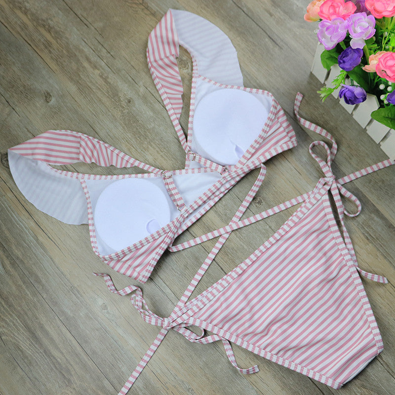 Ruffle neck Striped  Vintage Swimsuit