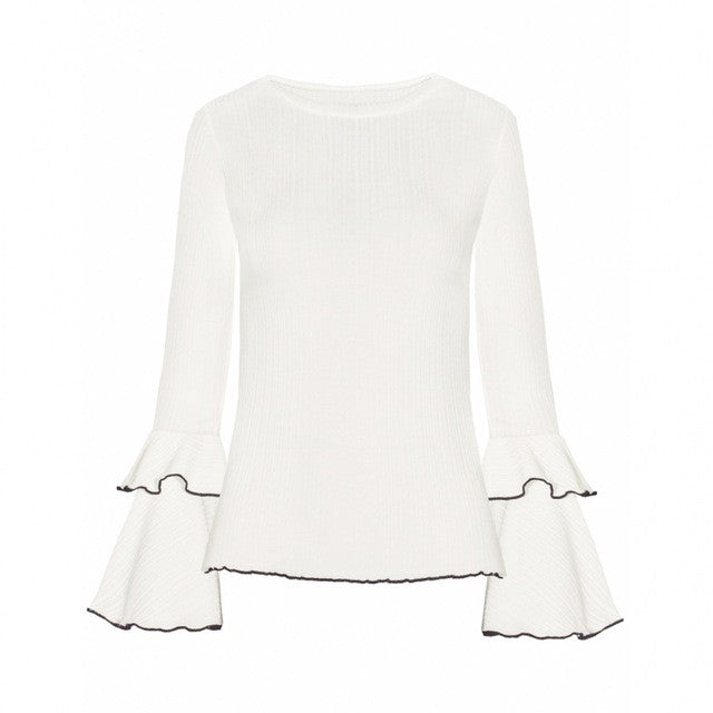 Sweet Solid Ruffles O-neck Ladies Sweater,  - By Classier