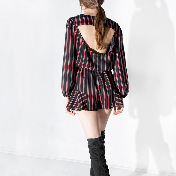 Backless Long Sleeve Chiffon Playsuits,  - By Classier