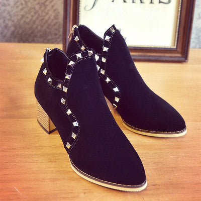 Short Ankle Rivet Boots,  - By Classier