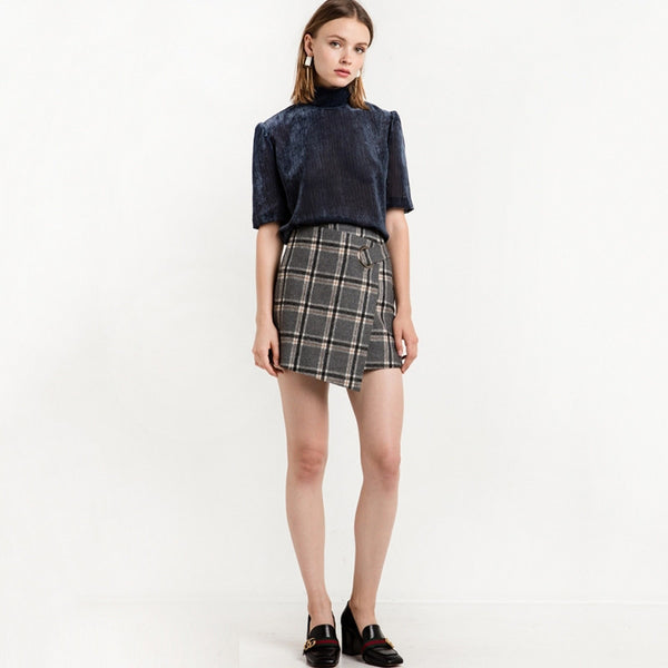 Plaid Mini Skirts Asymmetrical Casual,  - By Classier