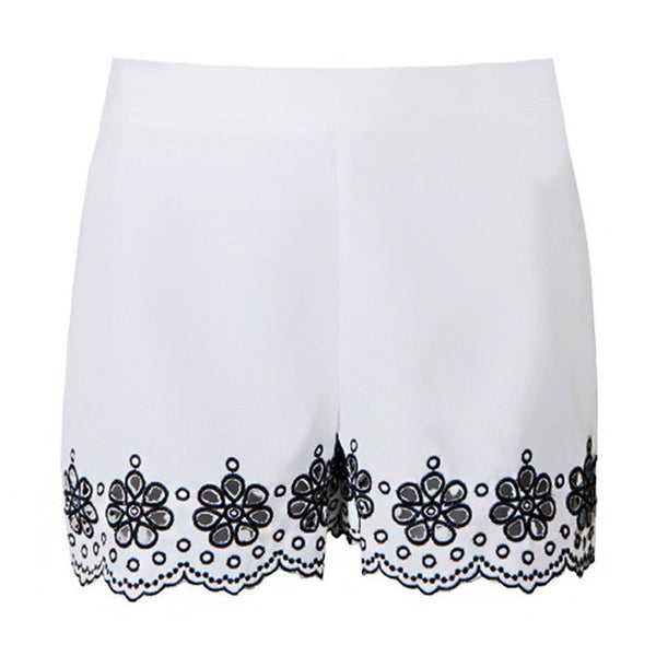 Floral Embroidery White Shorts,  - By Classier