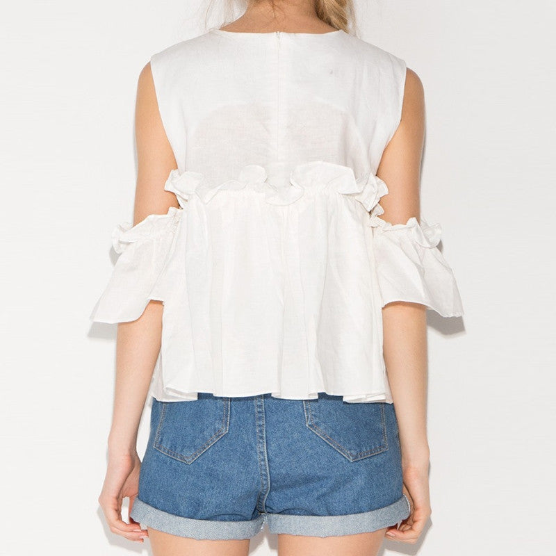 Butterfly Sleeve Cold Shoulder Female Shirts,  - By Classier