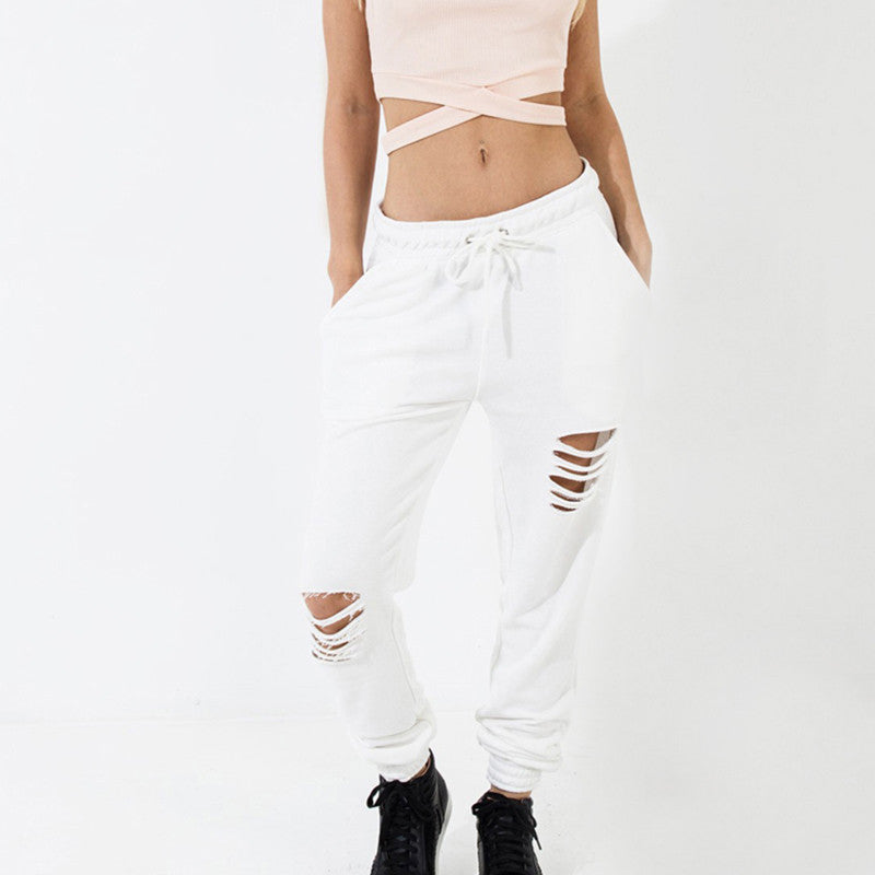 White Chic Straight Loose Casual Pants,  - By Classier