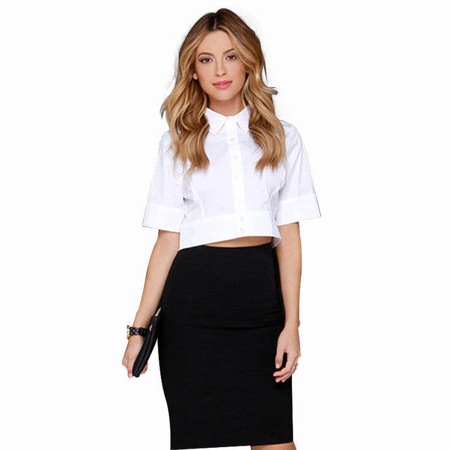 OL shirt slim half sleeve crop top,  - By Classier
