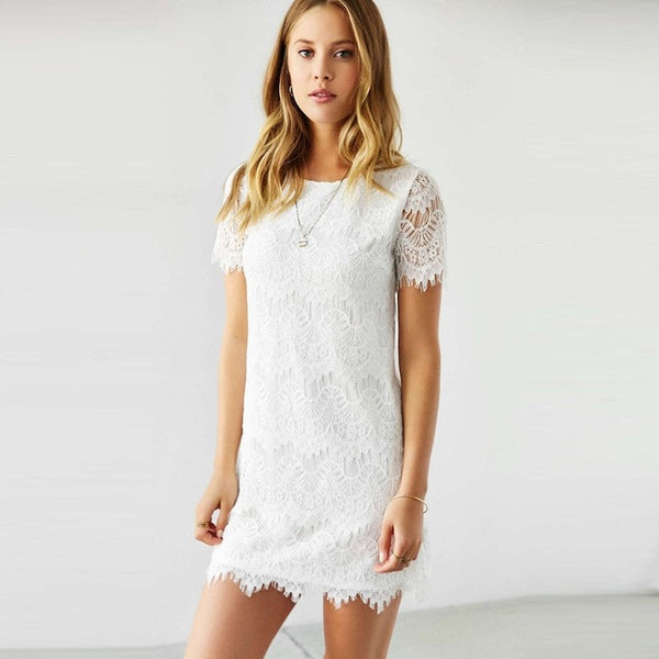 Lace Short Sleeve Dress, Dresses - By Classier
