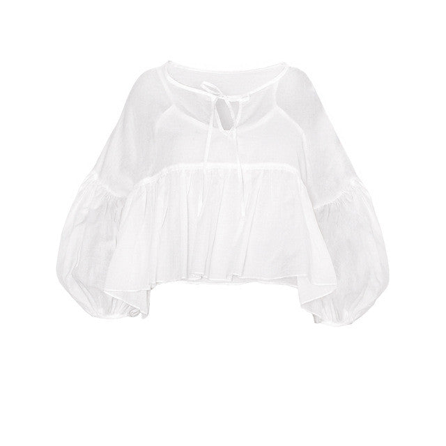 Ruched Sweet Blouse Shirt,  - By Classier