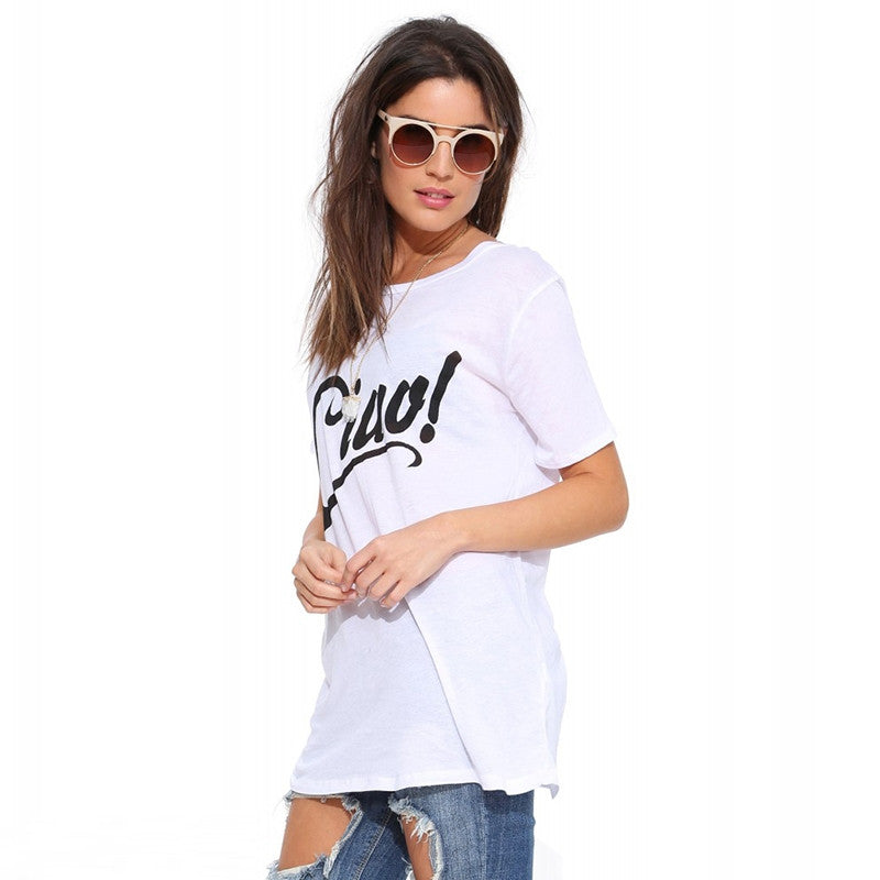 White Letter Print Longline Short Sleeve T-shirt,  - By Classier