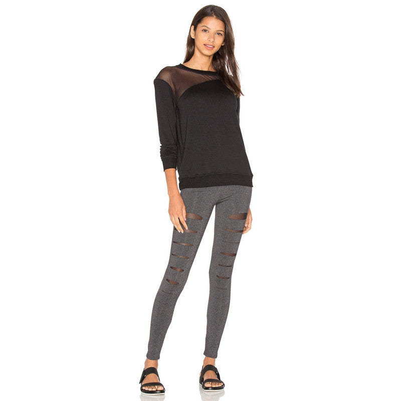 Black Sheer Long Sleeve Soft T-shirt,  - By Classier