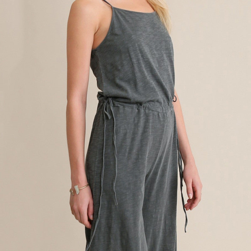Solid Strap Softable Romper Casual Loose,  - By Classier
