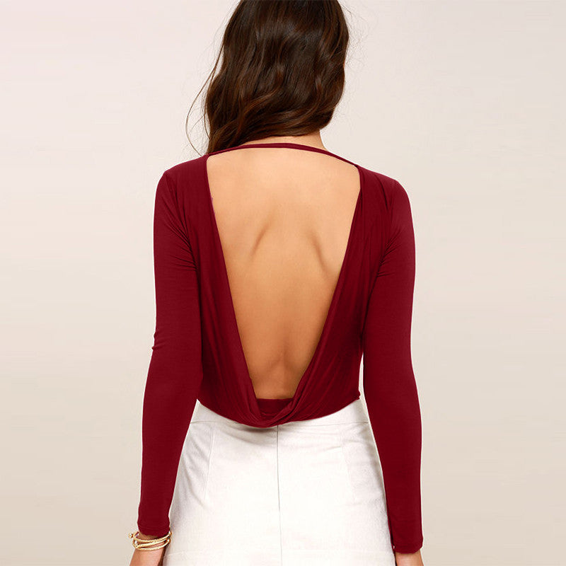 Slim Bodysuits Solid Deep V Backless,  - By Classier